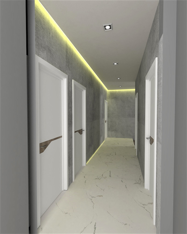Modern Corridor, Hallway and Staircase by Murat Aksel Architecture Modern Concrete