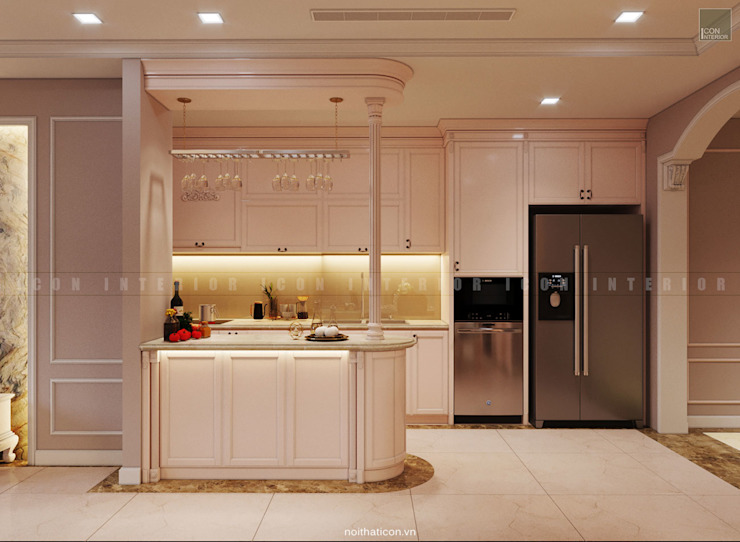 Nội thất căn hộ Vinhomes Central Park – Phong cách Tân Cổ Điển Nhà bếp phong cách kinh điển bởi ICON INTERIOR Kinh điển