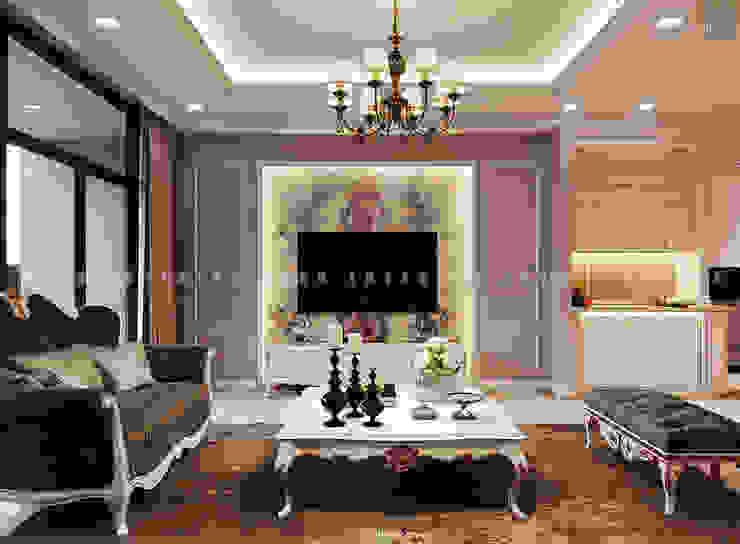 Nội thất căn hộ Vinhomes Central Park – Phong cách Tân Cổ Điển Phòng khách phong cách kinh điển bởi ICON INTERIOR Kinh điển