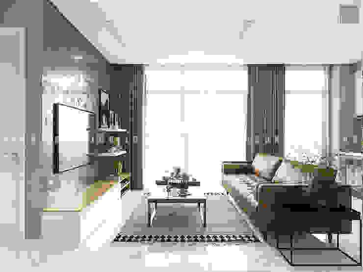 Nội thất căn hộ Vinhomes Ba Son – ICON INTERIOR Phòng khách phong cách Bắc Âu bởi ICON INTERIOR Bắc Âu