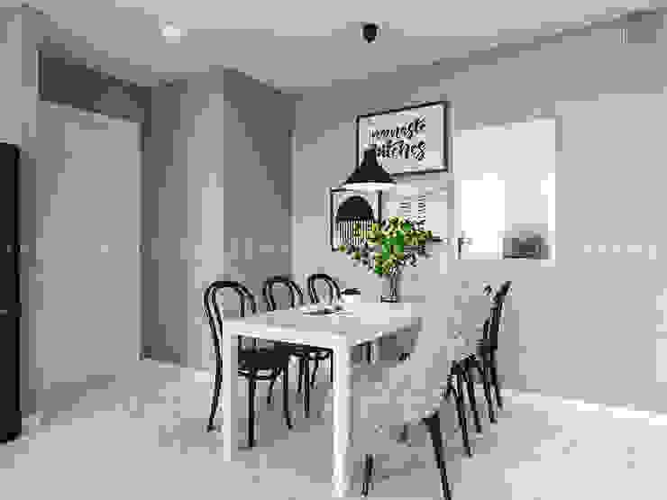 Nội thất căn hộ Vinhomes Ba Son – ICON INTERIOR Phòng ăn phong cách Bắc Âu bởi ICON INTERIOR Bắc Âu