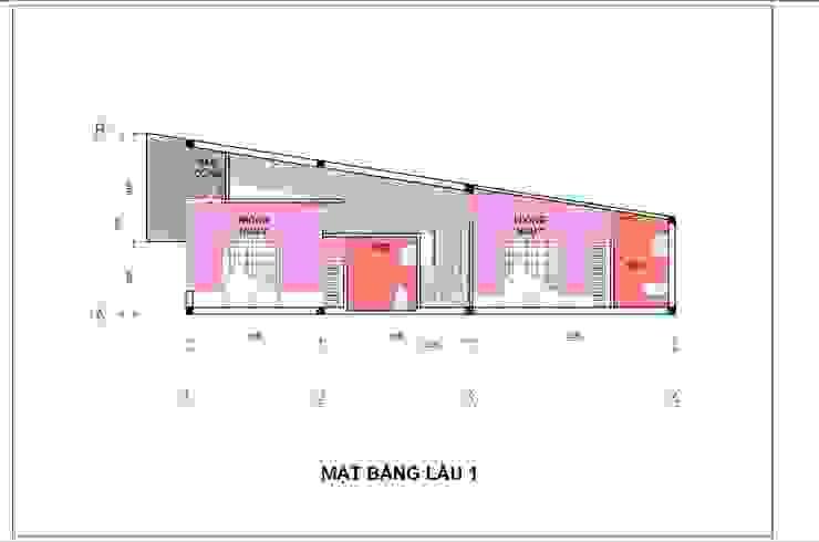 Bản vẽ mặt bằng lầu 1 nhà phố 4 tầng. bởi Công ty TNHH TK XD Song Phát Hiện đại Đồng / Đồng / Đồng thau