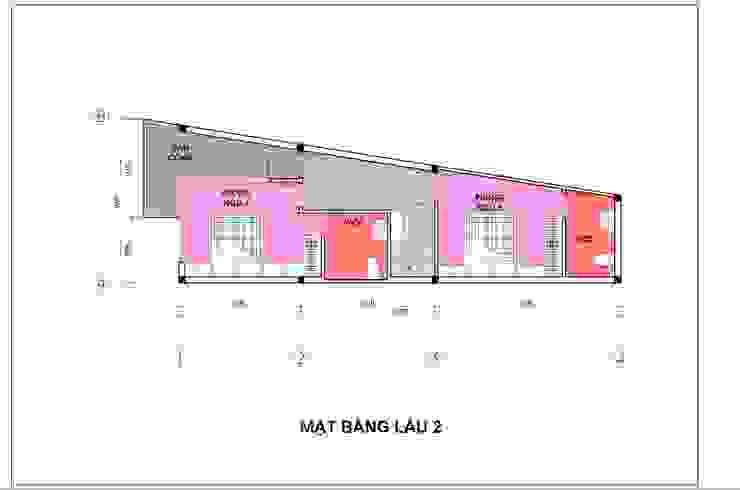 Bản vẽ mặt bằng lầu 2 nhà phố 4 tầng. bởi Công ty TNHH TK XD Song Phát Hiện đại Đồng / Đồng / Đồng thau