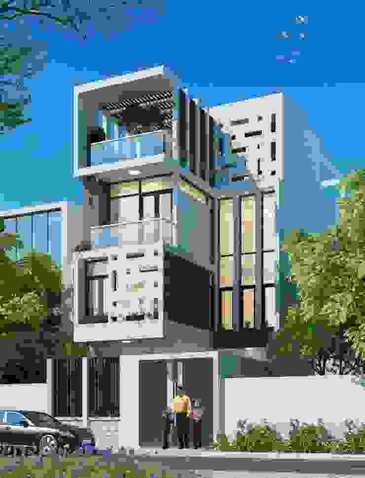 Nhà phố 4 tầng sang trọng với phong thái thanh lịch trong thiết kế. bởi Công ty TNHH TK XD Song Phát Hiện đại Đồng / Đồng / Đồng thau