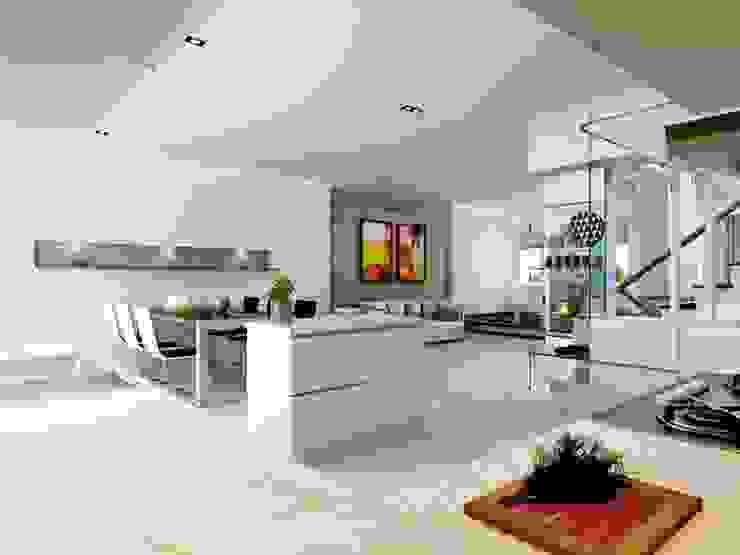 Căn bếp với đầy đủ nội thất sang trọng. Phòng ăn phong cách hiện đại bởi Công ty TNHH TK XD Song Phát Hiện đại Đồng / Đồng / Đồng thau