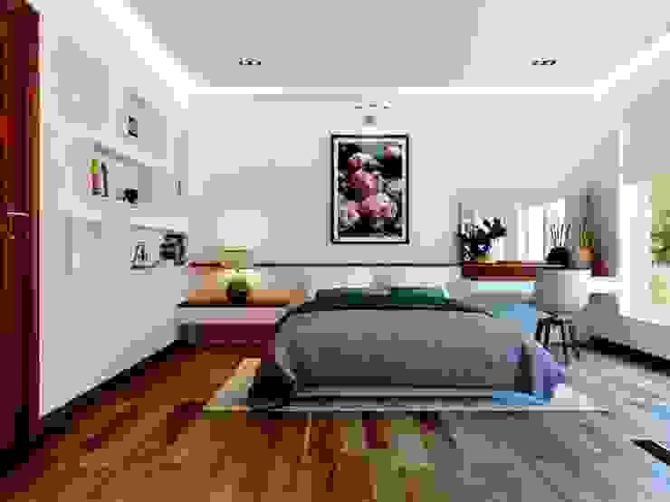 Việc sử dụng các vật liệu tự nhiên tạo khoảng không gian thoáng mát. Phòng ngủ phong cách hiện đại bởi Công ty TNHH TK XD Song Phát Hiện đại Đồng / Đồng / Đồng thau