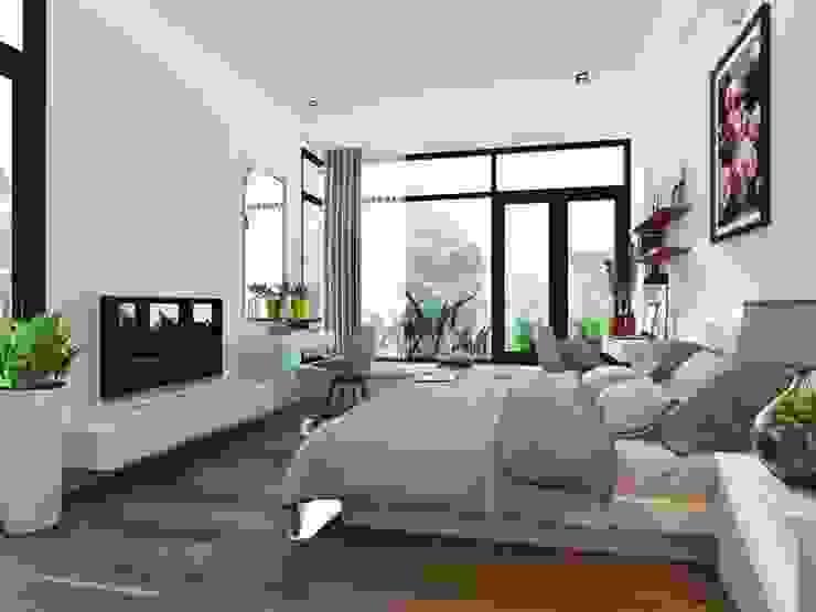 Ốp sàn gỗ với màu sắc mang hiệu ứng so le nhau tạo cảm giác không gian rộng thêm. Phòng ngủ phong cách hiện đại bởi Công ty TNHH TK XD Song Phát Hiện đại Đồng / Đồng / Đồng thau