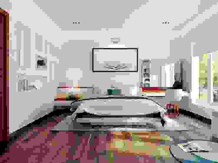 Các phòng ngủ đều có cửa thông ra ban công rộng rãi. Phòng ngủ phong cách hiện đại bởi Công ty TNHH TK XD Song Phát Hiện đại Đồng / Đồng / Đồng thau