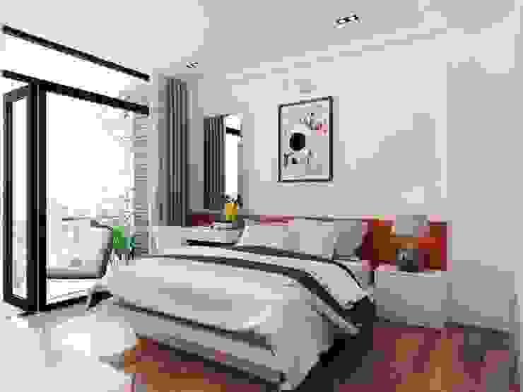 Phòng ngủ được bố trí phòng vệ sinh riêng đảm bảo sinh hoạt cho từng người. Phòng ngủ phong cách hiện đại bởi Công ty TNHH TK XD Song Phát Hiện đại Đồng / Đồng / Đồng thau