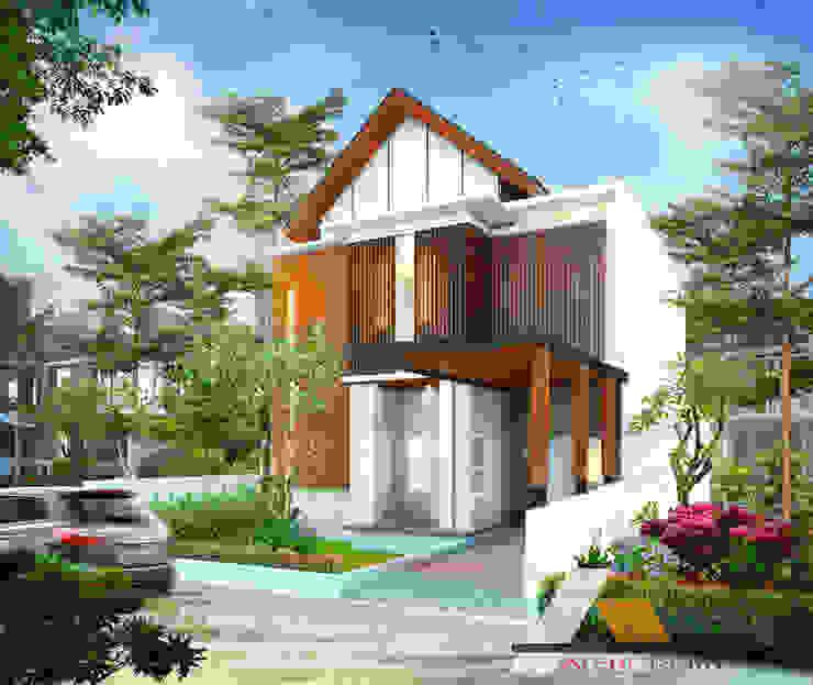 Renovasi rumah dr Irsad Oleh Architeamstudio Tropis Kayu Wood effect