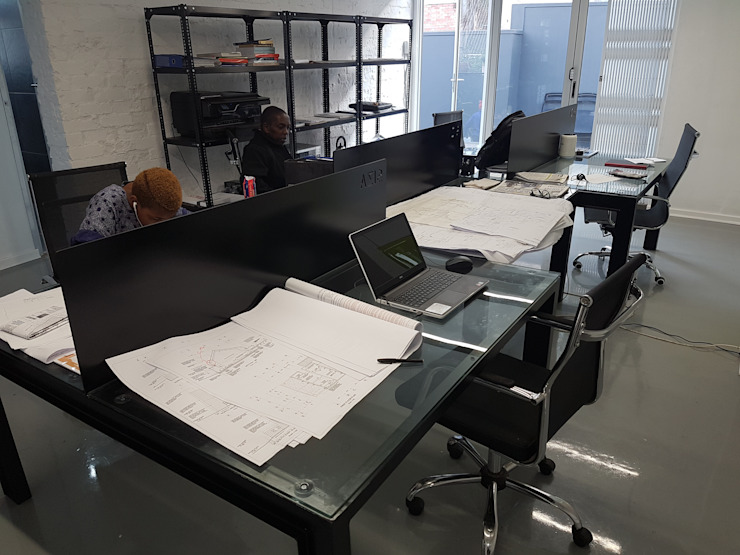 Custom Design Office Desks and Light Fittings: industrial  by Ciber Steel Worx (PTY) LTD, Industrial Metal