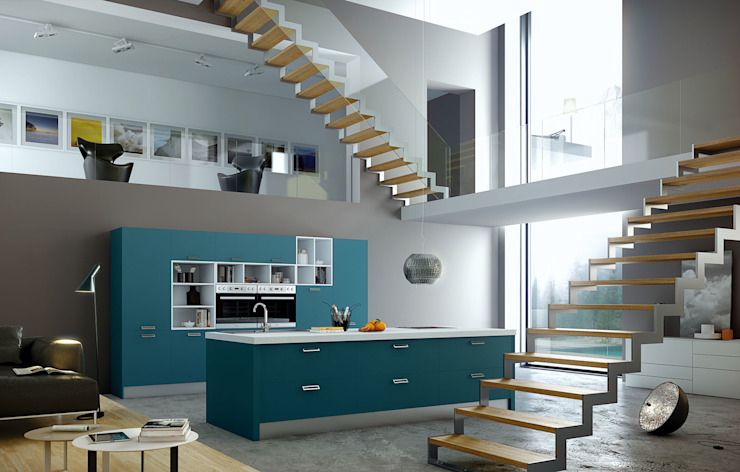 Isoko Proyecto Built-in kitchens Wood-Plastic Composite Blue