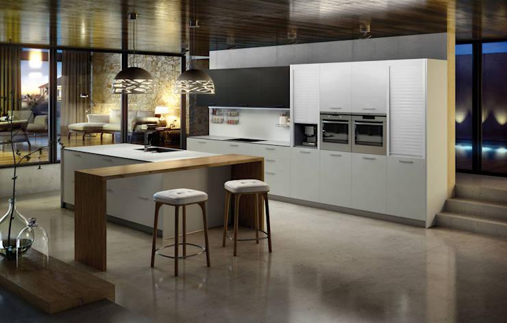 Isoko Proyecto Built-in kitchens Wood-Plastic Composite White