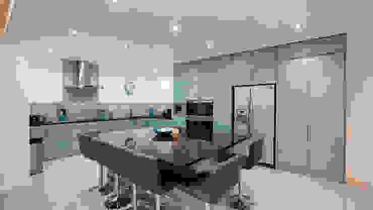 Gloss blue kitchen with american fridge freezer and large island. Modern Kitchen by Cleveland Kitchens Modern