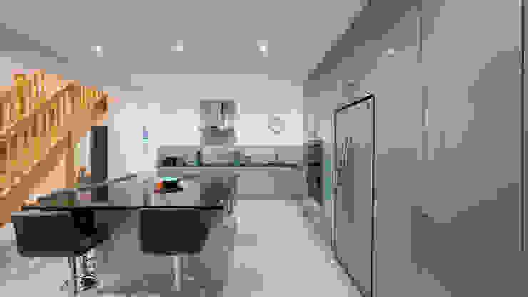 Alternative view of gloss blue kitchen. Modern Kitchen by Cleveland Kitchens Modern