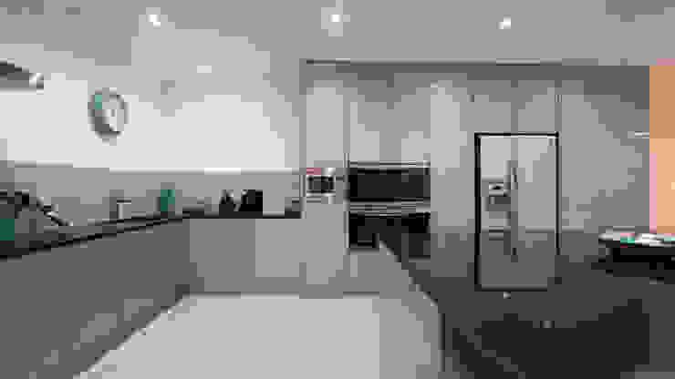 Straight on view of the stunning designer kitchen. Modern Kitchen by Cleveland Kitchens Modern