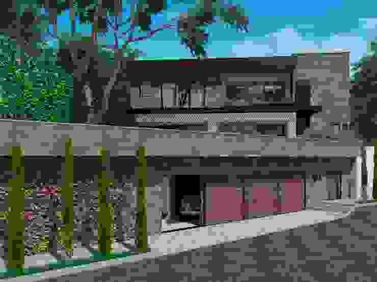 Vista Fachada de Acceso Fi Arquitectos Casas unifamiliares Piedra Gris