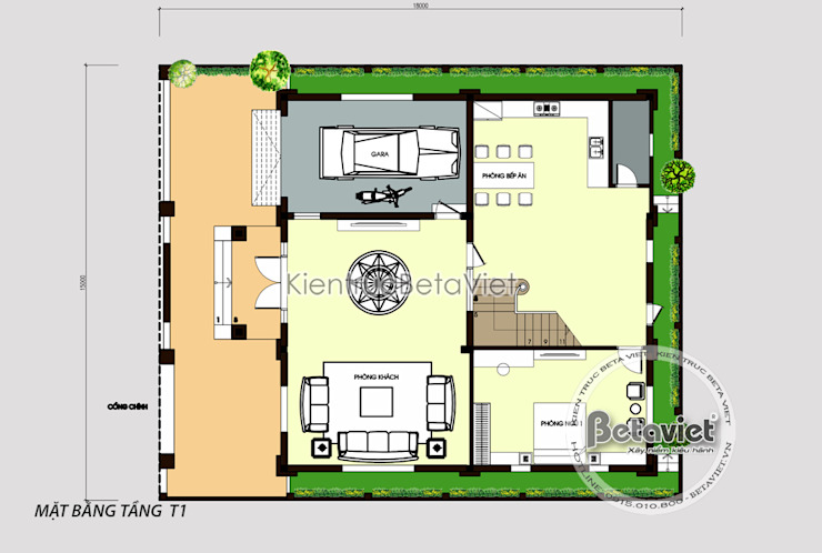Mặt bằng tầng 1 mẫu biệt thự kiểu Pháp cổ điển 3 tầng ( CĐT: Ông Cương - Thanh Hóa) KT17071A bởi Công Ty CP Kiến Trúc và Xây Dựng Betaviet
