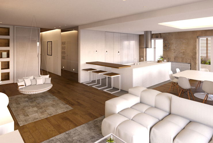 Abitazione Privata T1 Architetto Adalberto Pacillo Cucina minimalista Legno composito Bianco