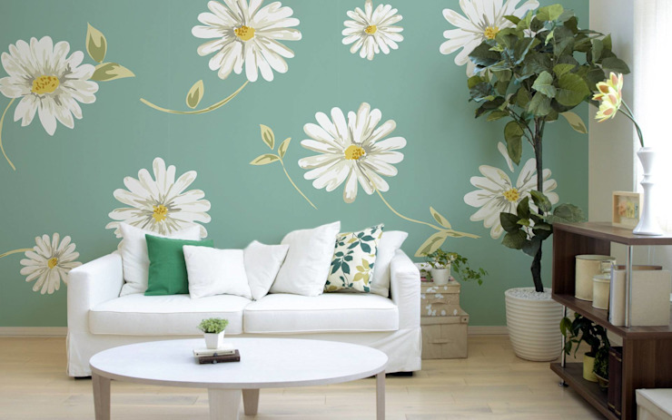 SUBTLE DAISIES Modern Living Room by Pixers Modern