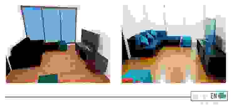 Render general Salones modernos de Estilo en muebles Moderno