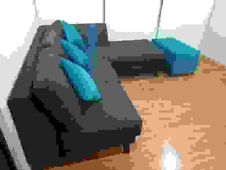 Proyecto de amueblado en departamento Salones modernos de Estilo en muebles Moderno