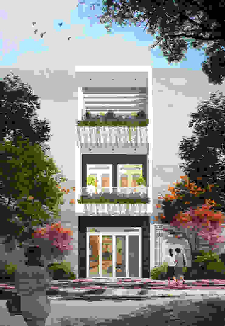 Phối cảnh mặt tiền nhà phố 3 tầng bởi Công ty TNHH Xây Dựng TM – DV Song Phát Hiện đại