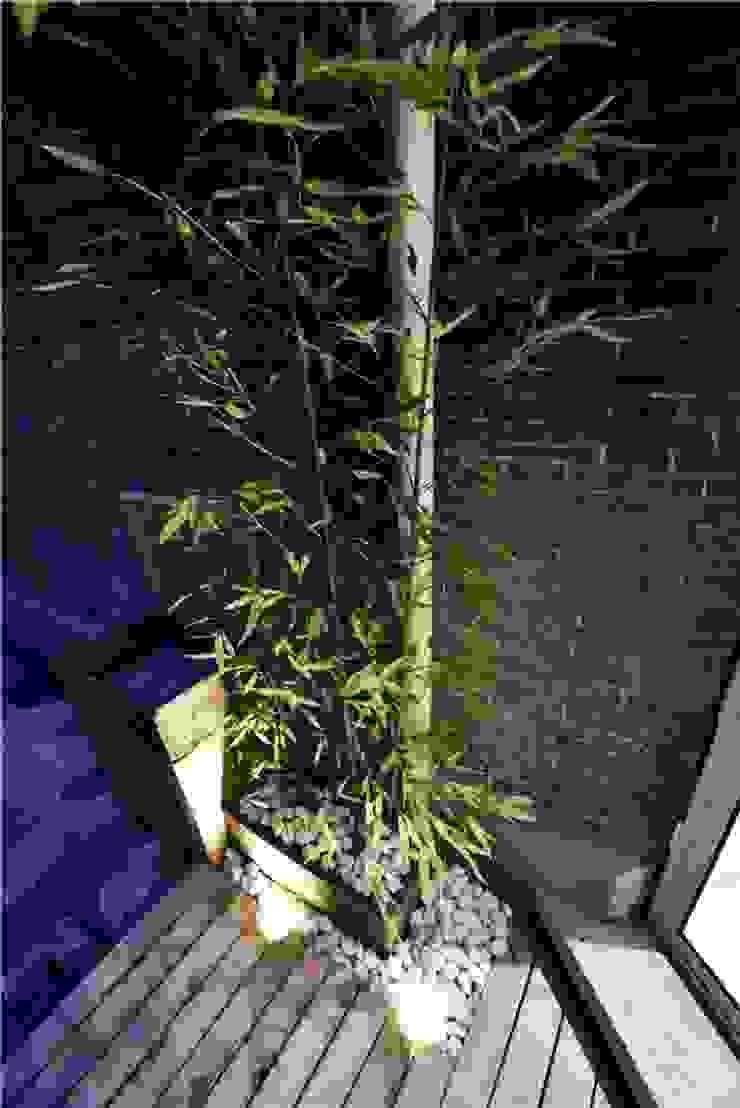 Một khoảng hiên nhỏ được tận dụng để trồng cây xanh. Hiên, sân thượng phong cách châu Á bởi Công ty TNHH TK XD Song Phát Châu Á Đồng / Đồng / Đồng thau