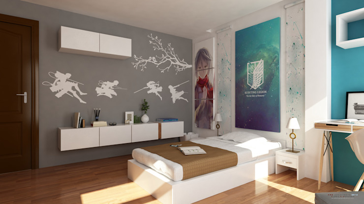 Interior works: Bedroom with an anime design concept Modern style bedroom by ABG Architects and Builders Modern
