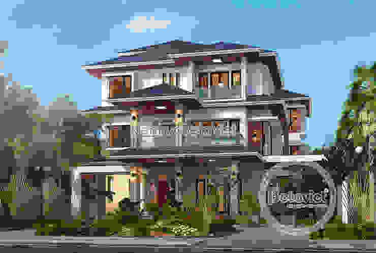 Phối cảnh mẫu thiết kế biệt thự hiện đại 3 tầng có bể bơi ( CĐT: Ông Sơn - Hà Nội) KT17109 bởi Công Ty CP Kiến Trúc và Xây Dựng Betaviet
