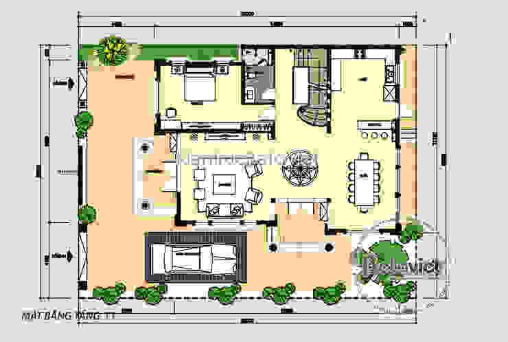 Mặt bằng tầng 1 mẫu thiết kế biệt thự 3 tầng đẹp Tân cổ điển có hầm nhà Ông Cường - Thái Nguyên ( KT17096) bởi Công Ty CP Kiến Trúc và Xây Dựng Betaviet