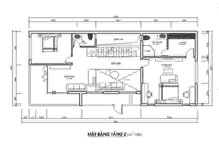 Bản vẽ tầng hai nhà phố 2 mặt tiền đẹp. bởi Công ty TNHH TK XD Song Phát Hiện đại Đồng / Đồng / Đồng thau