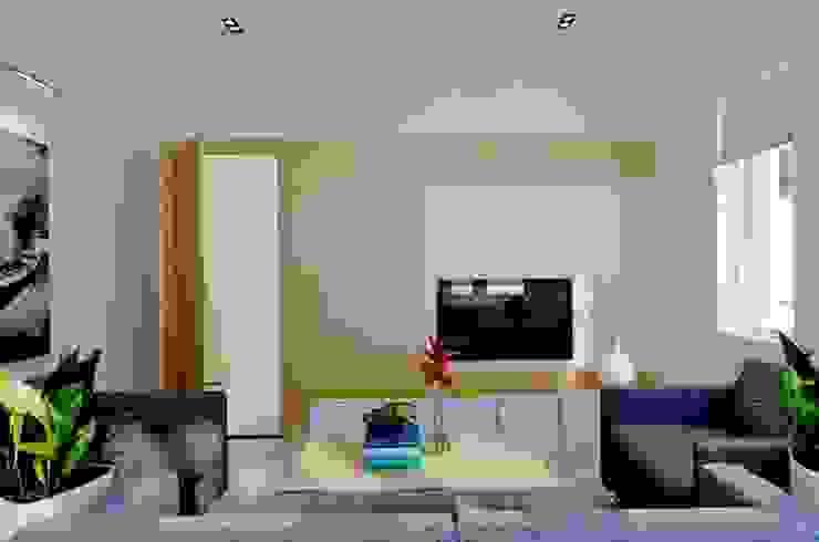 Gam màu trắng chủ đạo đem lại hiệu ứng ánh sáng tích cực cho những căn nhà phố. bởi Công ty TNHH TK XD Song Phát Hiện đại Đồng / Đồng / Đồng thau