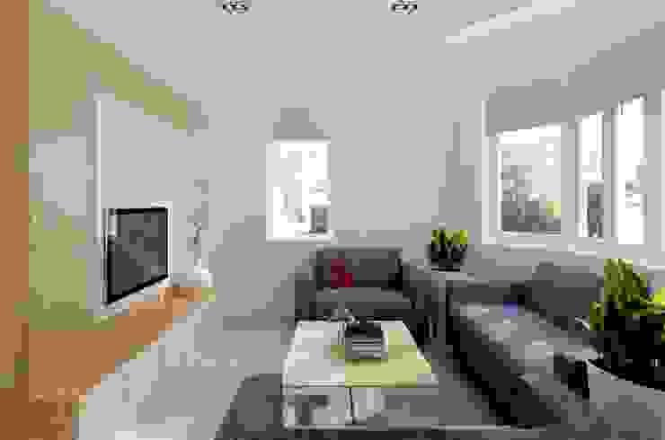 Cửa sổ lớn kết hợp rèm roman trở thành điểm nhấn tinh tế cho ngôi nhà 2 mặt tiền. bởi Công ty TNHH TK XD Song Phát Hiện đại Đồng / Đồng / Đồng thau