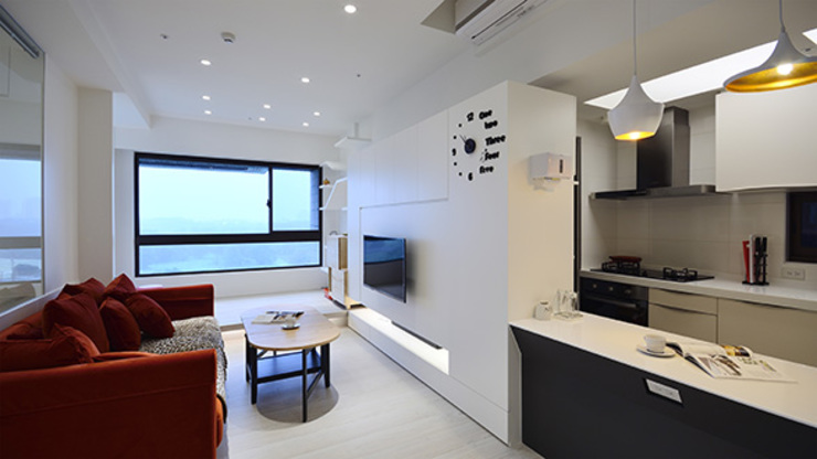 甜蜜溫心風 现代客厅設計點子、靈感 & 圖片 根據 瓦悅設計有限公司 現代風