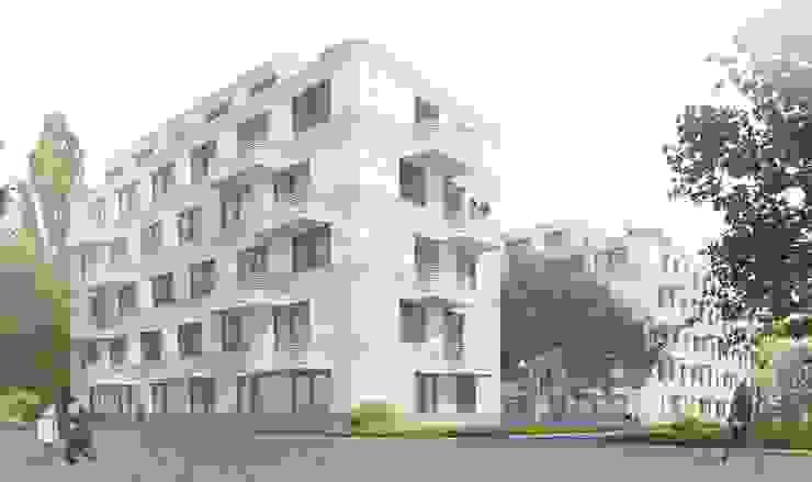 Wohnen am Leopoldplatz // 130 Mietwohnungen designyougo - architects and designers Mehrfamilienhaus Stahlbeton Weiß
