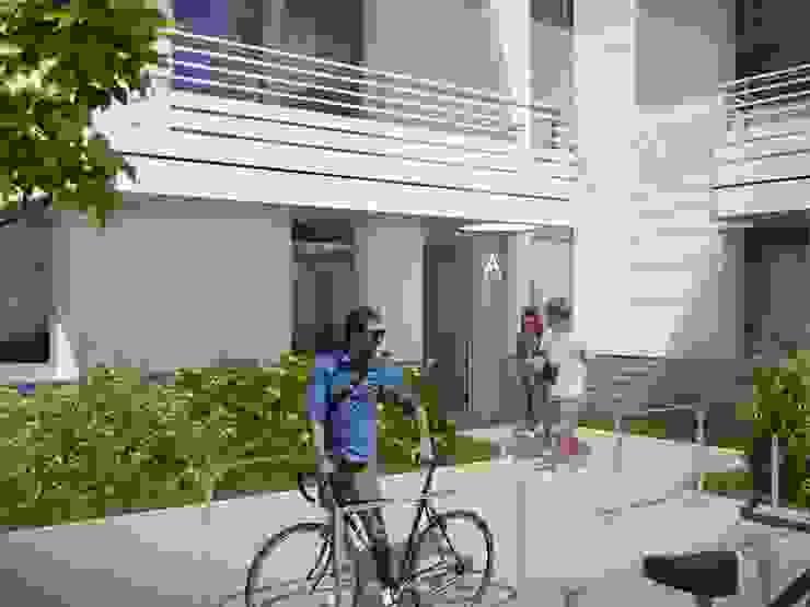 Wohnen am Leopoldplatz // Eingangsbereich designyougo - architects and designers Mehrfamilienhaus Stahlbeton Weiß