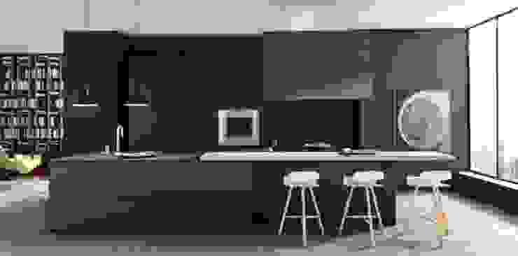 Felipe Lara & Cía KitchenCabinets & shelves Wood Black