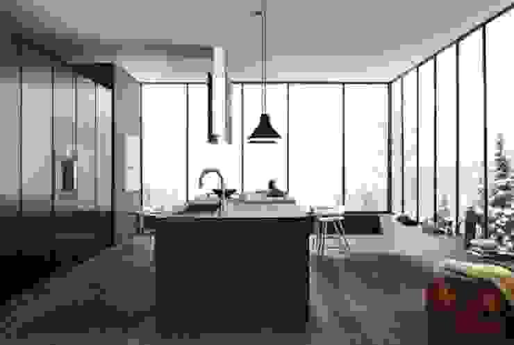 Felipe Lara & Cía Minimalist kitchen Wood Black