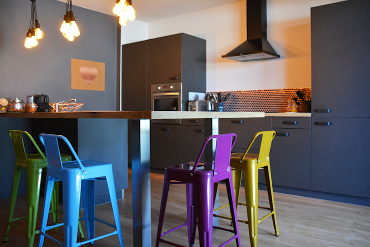 Décoration d'un appartement neuf à Lyon par Koya Architecture Intérieure Industriel Béton