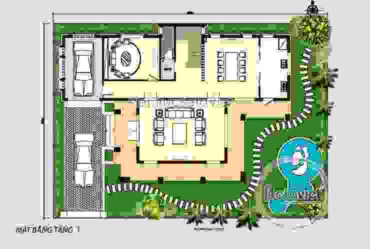 Mặt bằng tầng 1 mẫu thiết kế biệt thự hiện đại 3 tầng đẹp ( CĐT: Ông Hiệp - Ninh Bình) KT18009 bởi Công Ty CP Kiến Trúc và Xây Dựng Betaviet