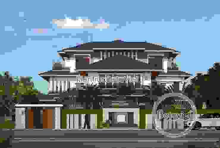 Phối cảnh mẫu thiết kế biệt thự hiện đại 3 tầng đẹp ( CĐT: Ông Hiệp - Ninh Bình) KT18009 bởi Công Ty CP Kiến Trúc và Xây Dựng Betaviet