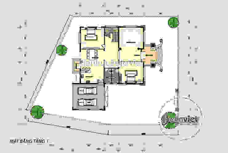 Mặt bằng tầng 1 mẫu thiết kế biệt thự 2 tầng Tân cổ điển châu Âu ( CĐT: Ông Bình - Thái Bình) KT17112 bởi Công Ty CP Kiến Trúc và Xây Dựng Betaviet