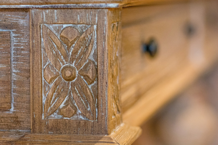 hand-carved detail of one of the beautiful pieces that we used in the living area: classic  by Kraaines Interiors - Decor by Cherice, Classic