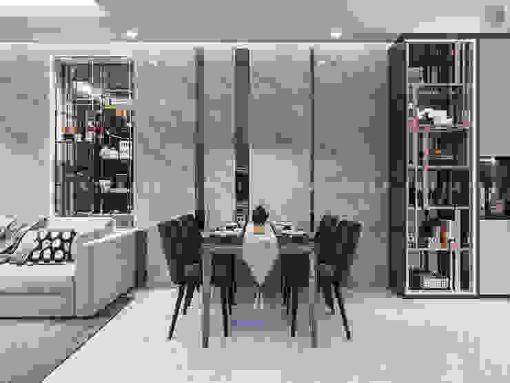 SẮC TRẮNG TRONG CĂN HỘ CHUNG CƯ CAO CẤP VINHOMES CENTRAL PARK Phòng ăn phong cách hiện đại bởi ICON INTERIOR Hiện đại