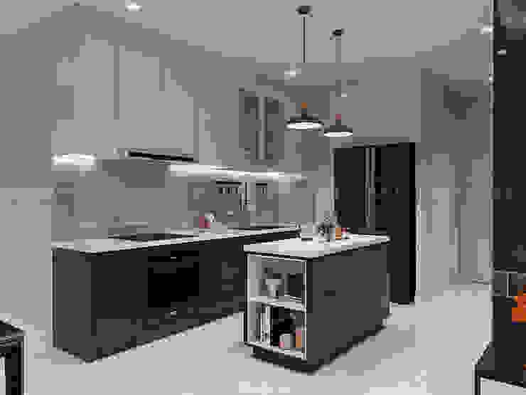 SẮC TRẮNG TRONG CĂN HỘ CHUNG CƯ CAO CẤP VINHOMES CENTRAL PARK Nhà bếp phong cách hiện đại bởi ICON INTERIOR Hiện đại