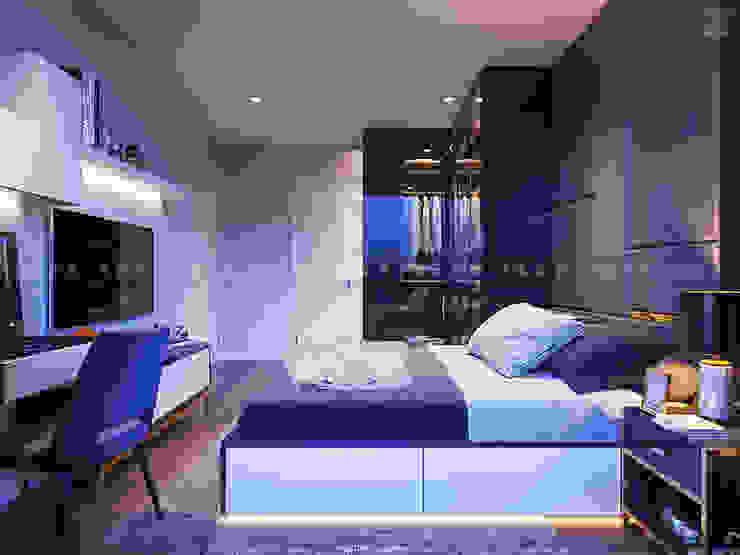 SẮC TRẮNG TRONG CĂN HỘ CHUNG CƯ CAO CẤP VINHOMES CENTRAL PARK Phòng ngủ phong cách hiện đại bởi ICON INTERIOR Hiện đại