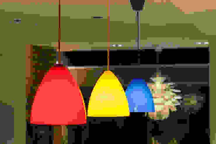 Multi-coloured kitchen pendants Timothy James Interiors Minimalist kitchen