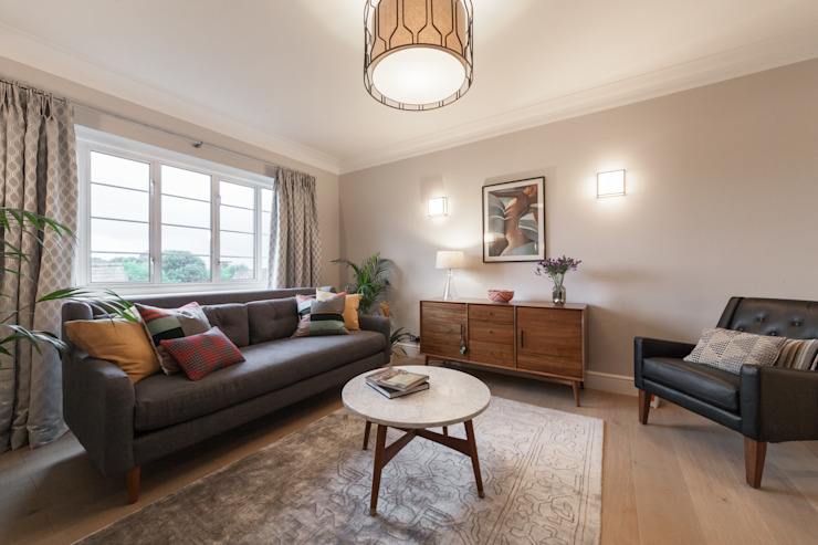 Chiswick Penthouse Apartment Timothy James Interiors Eclectic style living room Grey