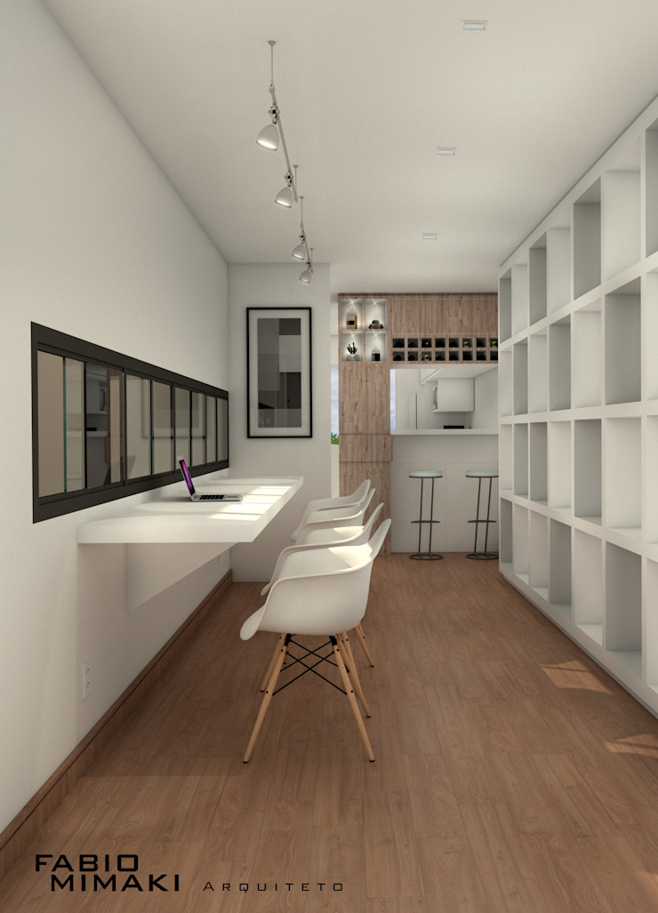 Pasillos, vestíbulos y escaleras de estilo minimalista de Fabio Mimaki Arquitetura Minimalista Madera Acabado en madera